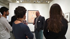 Curator Stuart Horodner speaking about the important works of Claude Cahun lent from Haverford's Fine Arts Photography Collection. Photo courtesy of John Muse
