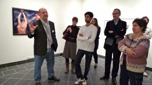 Curator Stuart Horodner speaking to faculty members and gallery staffers prior to the opening. Photo courtesy of John Muse